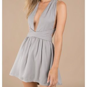 Only worn once: Silver/Grey Mini Dress